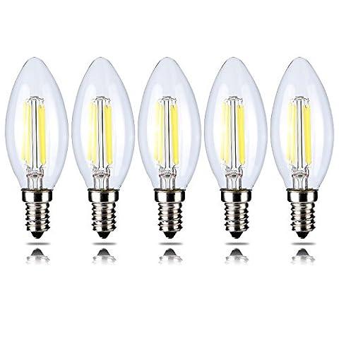5-Pack 4W Dimmbar 400 lm LED Filament Kerze Glühbirne Warmes Weiß 2700K E14 Kandelaber Basis 40W Glühlampe Äquivalent yt-c35-1