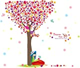 Rainbow Fox colorful Tree Wall Stickers Removable romantic Wall Decal Sticker,Super for Girls and Boys Nursery Baby Room (seven color tree)