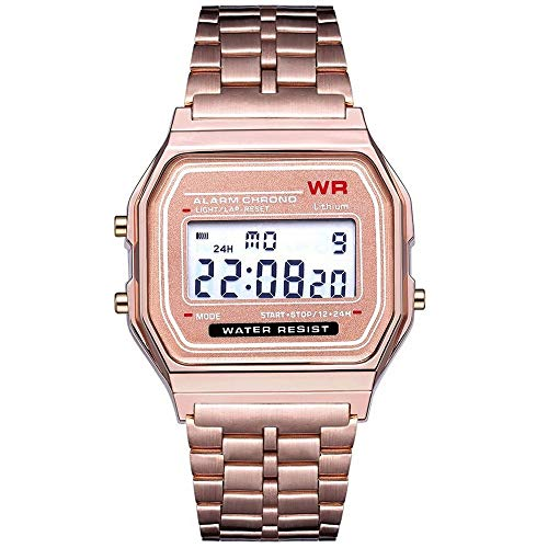 Aiserkly LED Digital Wasserdichte Quarz-Armbanduhr-Kleid-goldene Armbanduhr-Frauen-Männer Rose ()