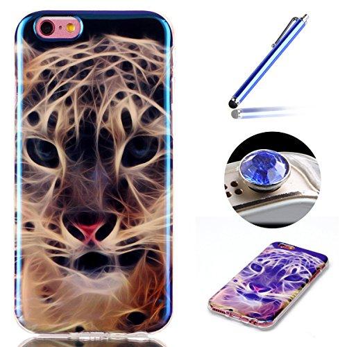 Etche iPhone 6 Plus/6S Plus TPU Schutzhülle, Laser Reflect Blue Light Case für iPhone 6 Plus/6S Plus, Transparent Frame Silikon Handyhülle für iPhone 6 Plus/6S Plus,Premium Slim TPU Gel Soft Back Cove Blue Light,Leopard