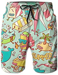 Summer Up Cute Skull Cheese Hot Dog Men s Unique Design Printing Sandy  Beach Pants 95c705ebbc8