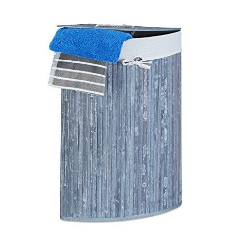Relaxdays Eckwäschekorb Bambus H x B x T: ca. 65 x 49,5 x 37 cm faltbare Wäschetruhe eckig mit einem Volumen von 64 L mit Wäschesack aus Baumwolle zum Herausnehmen für Ecken und Nischen im Bad, grau
