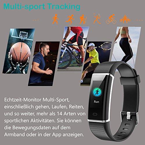 YAMAY Fitness Armband,Wasserdicht IP68 Fitness Tracker mit Pulsmesser 0,96 Zoll Farbbildschirm Aktivitätstracker Fitness Uhr Smartwatch,Pulsuhren,Schrittzähler Uhr,Smart Watch für Damen Herren - 3