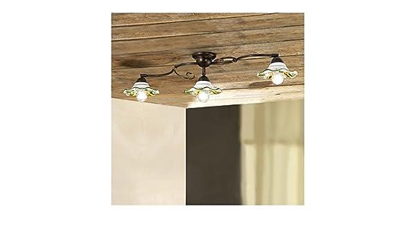 Plafoniere Da Taverna : Plafoniera lampada da soffitto in ferro a 3 luci con paralumi
