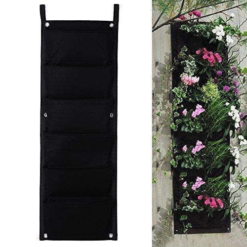 Demiawaking 4/6/12/18-vaso da fiori in poliestere per appendere a parete per piante da giardino verticali, fiori, living-vaso da interni, feltro, nero, 6-pocket