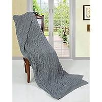 Super Chunky EHC-Coperta in cotone lavorato a maglia, colore: nero fumo, 125 x 150 cm