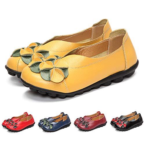 Gracosy Mocasines para Mujer Primavera/Verano Vintage Flores Hechas a Mano Zapatos de Cuero Estilo Mocasines...