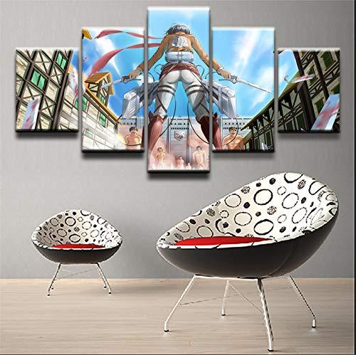 HOMOPK 5 Stücke Malerei Modulare Tapete HD Druck Auf Leinwand Wandkunst Wasserdicht Poster Bad Wohnzimmer Wohnkultur Bild Titan-Spiel angreifen B,Rahmen