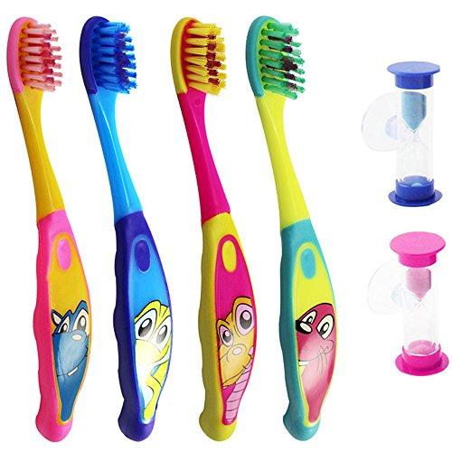 COM-FOUR® 4er Set Kinderzahnbürsten, 4 verschiedene Tiermotive, 4 verschiedene Zahnbürstenhalter, mit 2 farbenfrohen Sanduhren plus Kinderzahncreme