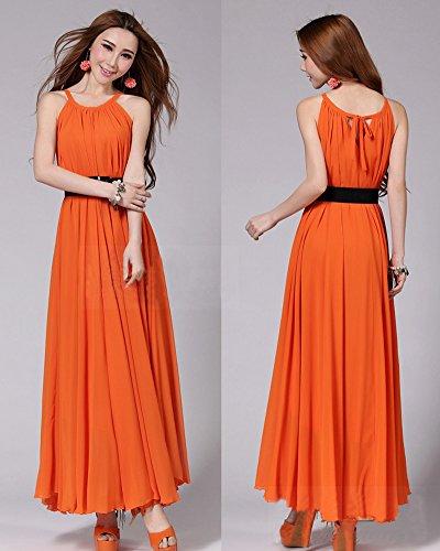 Moollyfox Femme Maxi Robe Longue en Mousseline de Soie Robe de Plage Sans Manches Grande Taille Robe Orange