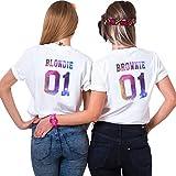 Beste Freunde Bets Friends T-Shirts für Zwei Damen Sister Freundschaft Tshirt Geburtstagsgeschenk BFF Shirts Sommer Tops Mode Casual Oberteil 2 Stücke(Weiß,Blondie-S+Brownie-M)