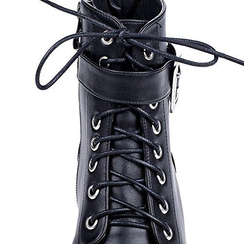 VogueZone009 Donna Cerniera Tacco Basso Luccichio Bassa Altezza Stivali con Metallo Nero