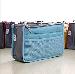 EasyBuy India grey : Cosmetic Bag in Bag,Double Zipper Portable Multifunctional Travel Pockets Handbag Storage Bag,Fadish Travel Organizer Makeup Bag