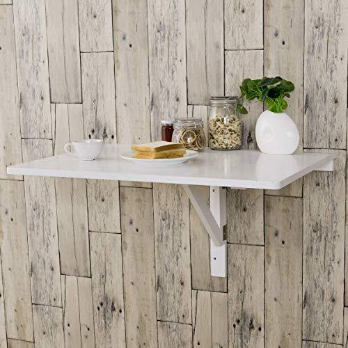 COSTWAY Tavolino Pieghevole da Muro Tavolo Porta PC da Parete in Legno, 80 x 60 x 45 cm (Bianco)