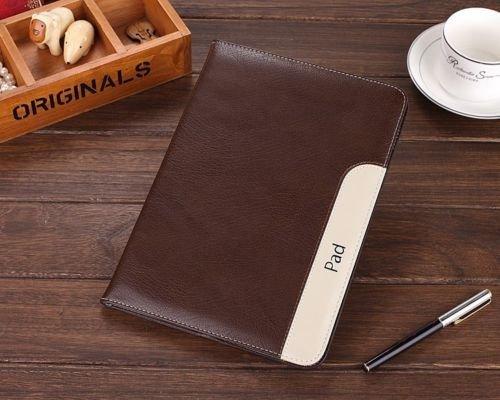 Apple iPad Air 2 Business Retro Design-Echt Ledertasche Hülle Case Smart cover mit Standfunktion / Sleep / Wake up für (Elastic Hand Strap, Multi-Angle, Kartenhalter) für iPad Air 2 Kaffee