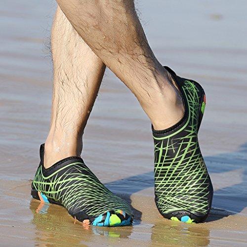 Laiwodun Uomo Donna Scarpe Acqua Scarpe Aqua Quick Dry A piedi nudi Calzature Subacquee Swim Diving con 14 fili di drenaggio color-4