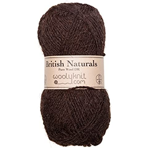 50g balls of Woolyknit Blue Faced Leicester DK| 100% British Wool, hand knitting Yarn (Mid Brown Natural