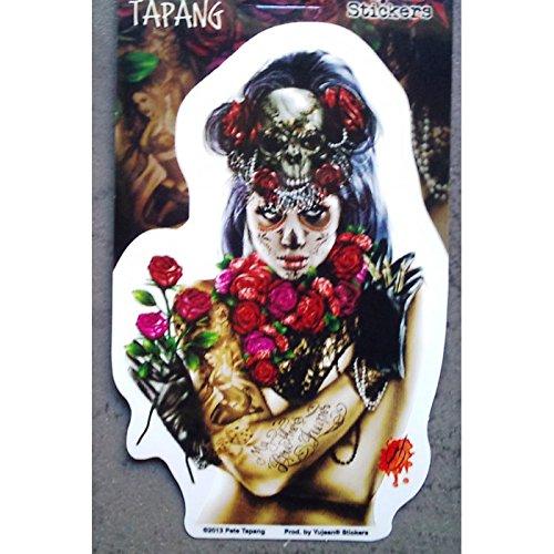 hotrodspirit - Sticker pin up Muerte et Roses Autocollant Style Tattoo