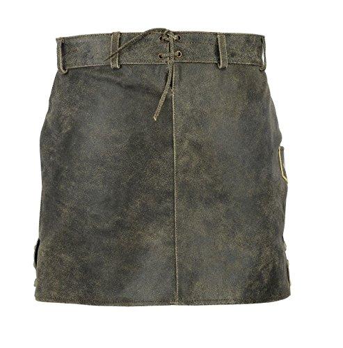 Shamzee Trachtenrock aus Cracker glazed Leder für Damen Grau