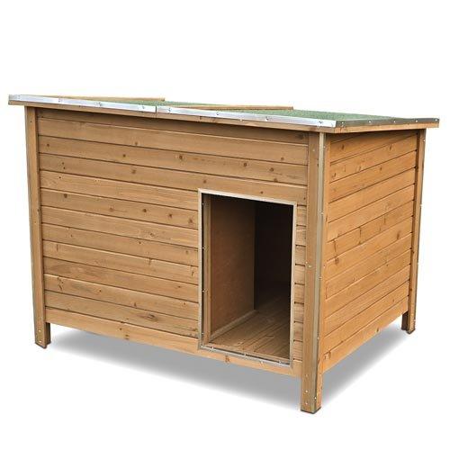Happypet® Hundehütte DK120-2 wetterfest, isoliert mit Windfang aus Massivholz 120 x 90 x 90 cm