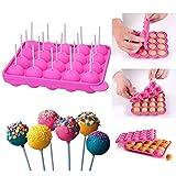 Outtybrave Silikon Cake Pop Backform Cake Pop Formen, 20 runde Formen Silikon Lollipop Form Tablett Cake Silikonform für Cupcakes, Süßigkeiten, Gelee und Schokolade, antihaftbeschichtet, Pink