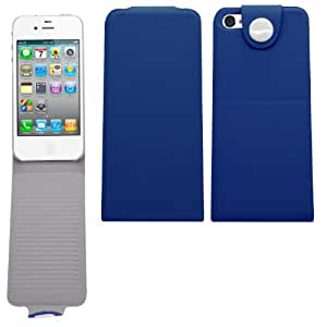 Samrick Étui à rabat avec bouton et support de visionnage pour Apple iPhone 5/5G/5S, Cuir synthétique, bleu, 123,8 x 58,6 x 7,6