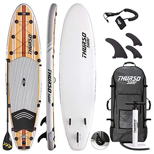 THURSO SURF Waterwalker aufblasbares All Around Stand Up Paddling Board SUP 335 x 81 x 15 cm Deluxe-Paket Inclusive Paddel mit KARBON-Schaft/2+1 Flossen mit Schnellverschluss/Leine/Pumpe/Rucksack (Test Touring Der)