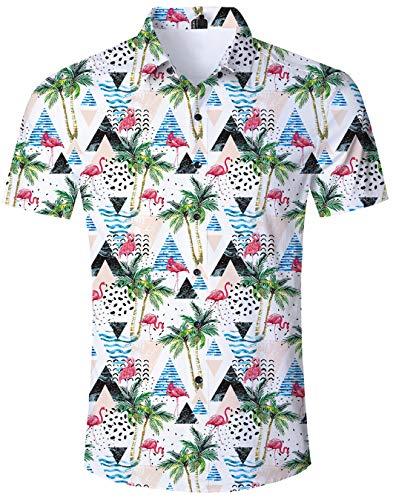 Herren Hemd Flamingo Rosa Strand Hemden Kurzarm Schlank Hemden Sommer Freizeithemd Blumen 3D Druck Hawaii Hemd Und Shorts Für Herren Jungen XXL - Hawaii-blumen-muster-shirt