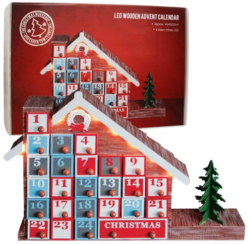 The Benross Christmas Workshop Wooden Advent Calendar House with Lights