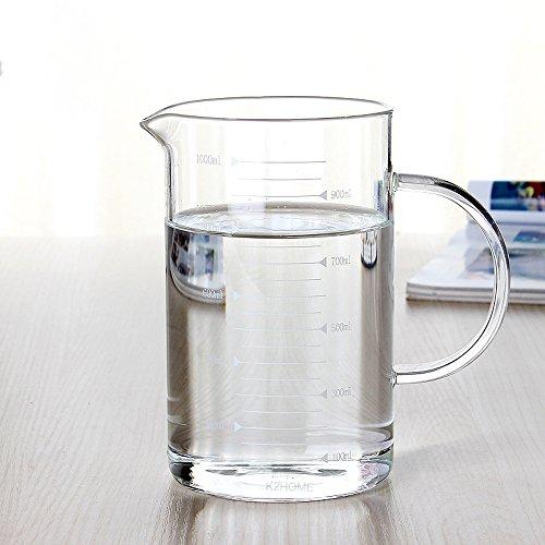 asentechuk® de alta borosilicato cristal transparente jarra medidora
