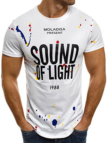 OZONEE Herren T-Shirt mit Motiv Kurzarm Rundhals Figurbetont J.STYLE SS031 Weiß