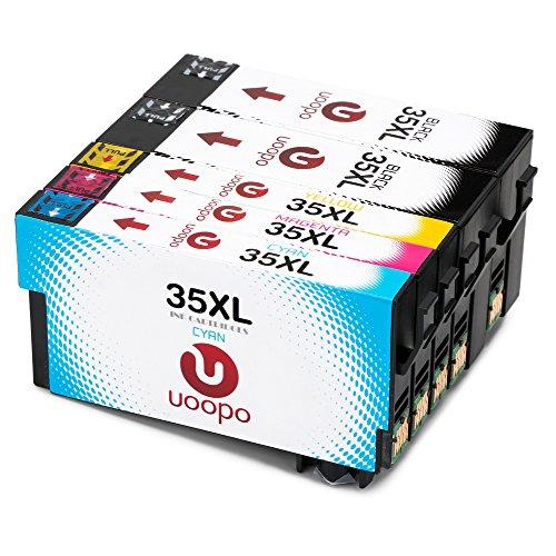 Preisvergleich Produktbild Uoopo 35XL Multipack Ersatz für Epson 35XL Druckerpatrone, 5 Pack patrone Arbeiten mit Epson WorkForce Pro WF-4720DWF WF-4730DTWF WF-4740DTWF WF-4725DWF Drucker.(2 Schwarz 1 Cyan 1 Magenta 1 Gelb)