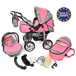 Kamil - Sistema de viaje 3 en 1, silla de paseo, carrito con capazo y silla de coche, RUEDAS ESTÁTICAS y accesorios (Sistema de viaje 3 en 1, rosado y leopardo)