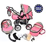Baby Sportive - Sistema de viaje 3 en 1, silla de paseo, carrito con capazo y silla de coche, RUEDAS ESTÁTICAS y accesorios, color rosa, leopardo