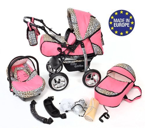 Classic 3-in-1 Travel System with 4 STATIC (FIXED) WHEELS incl. Baby Pram, Car Seat, Pushchair & Accessories, Pink & Leopard 51pU7O7NlBL