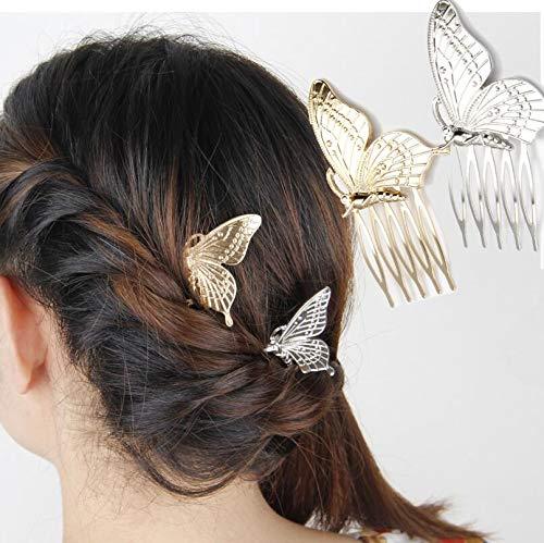 Jovono Haarspange Brautschmuck Haarschmuck mit goldenem und silberfarbenem Schmetterling Kopfschmuck für Frauen und Mädchen (2 Stück)