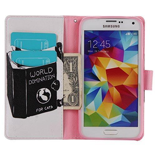 PU Coque Samsung Galaxy S5 i9600, Multifonction Case Wallet Cover Etui en cuir Étui de protection flip Wallet stand Cover avec des fentes de cartes pour Samsung Galaxy S5 i9600 +Bouchons de poussière (14BL)