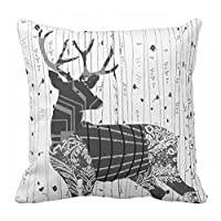 Square Canvas Pillow Case Deer Printing Sofa Pillow Sham for Bed 45 x 45 cm 18 x 18 inch