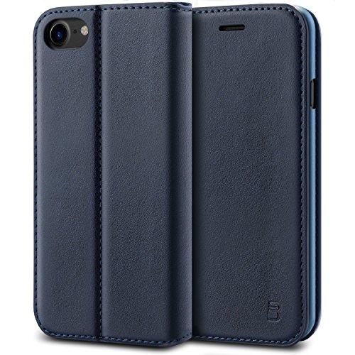 BEZ® iPhone 7 Hülle, Handyhülle Kompatibel für iPhone 7, iPhone 8 Tasche, Flip Case Cover klappbar aus Klappetui mit Kreditkartenhaltern, Ständer, Magnetverschluss - Marine