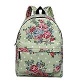 Miss Lulu Mädchen Segeltuch Schulrucksack Studenten Rucksack Teenager Schultasche Freizeit Daypacks (Blume Grün)