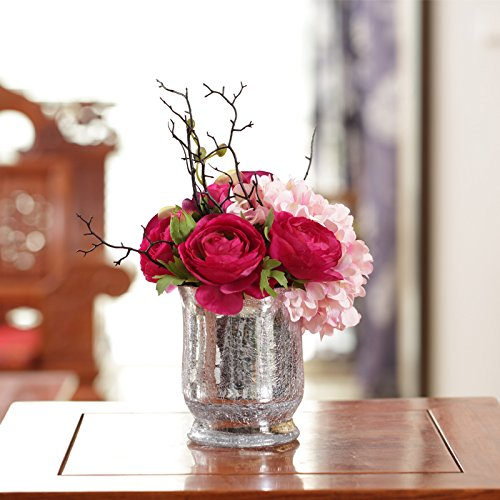 Jhdh2-continental Ice Crack Glass Vase Of Transparent Water Container Ornaments, Floral 4
