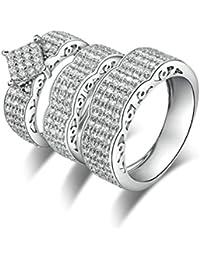 SonMo Joyas&Anillo de Compromiso En Oro Blanco Anillos con Diamantes Falsos para Boda Anillo de Plata