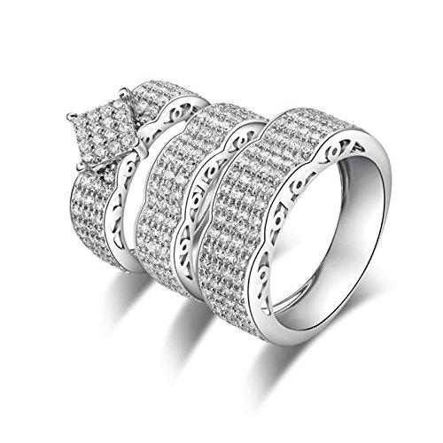 Knbob anello argento brillanti anello a forma di anello rotondo con cubic zirconia bianco brillante rotondo anello argento zirconi donna fedi nuziali donna dimensione