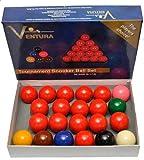 Ventura Snooker Set biglie per Snooker mm.52,4. 15 biglie Rosse, 6 Colorate e Una Bianca Battente.