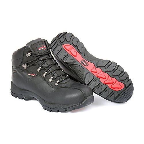 Mekap policap 101–Unisex Adultos & de Trabajo Zapatos de Seguridad S1–SRC Safety Shoes Footwear Barton Piel con Estructura, Color Negro, Talla 41