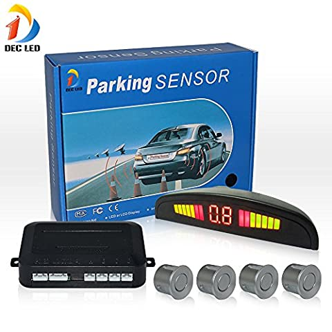 DEC LED Car LED Parking Reverse Backup Radar System with Backlight Display 4 Sensors (White/Black/Silver/champagne Optional) (Silver)