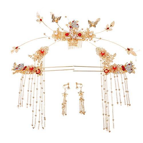 Jewelry M die Krone Braut antiken Kopfschmuck New Chinese Xiuhe Kleid Hochzeit Phoenix Krone Han Kleid Xia Xiaobu Toast Kleid Haarschmuck, Golden Butterfly Ancient Clothes ()