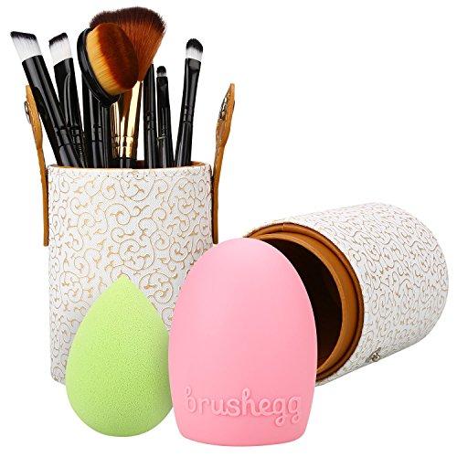 Molain Make up Pinsel mit Halter,Make up Schwamm und Make up Pinsel Reinigung, einschließlich Lidschattenpinsel, Rougepinsel ,Concealerpinsel ,Lippenpinsel,Augenbrauenpinsel und Puderpinsel ( 8 Stk)