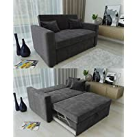 Ravena 2 Seater Sofabed in 4 Colours- Pull Out Drawer Sofa with Matching Cushions