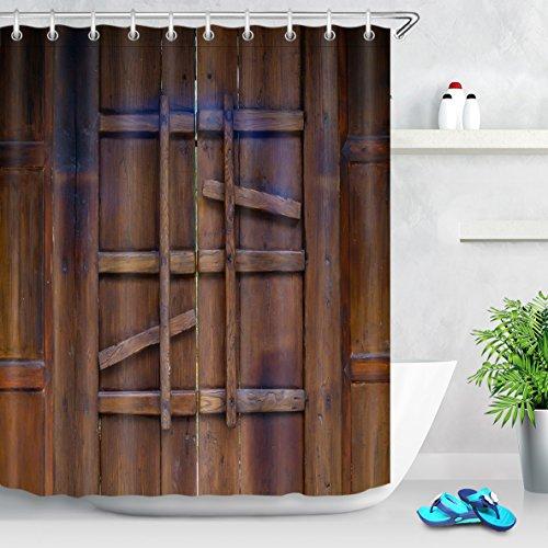 LB Personalizar Puerta de madera retro Cortina de la ducha,Impermeable Resistente al moho Tejido de poliéster Cortinas de baño para baño, 180X180cm, 12 anillos